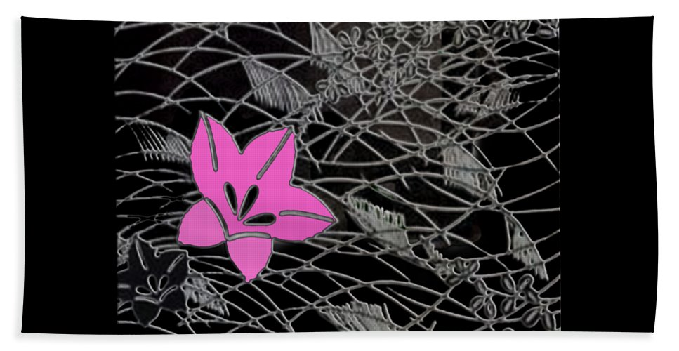 Chirimen Beach Towel featuring the digital art Floral Chirimen by Asok Mukhopadhyay