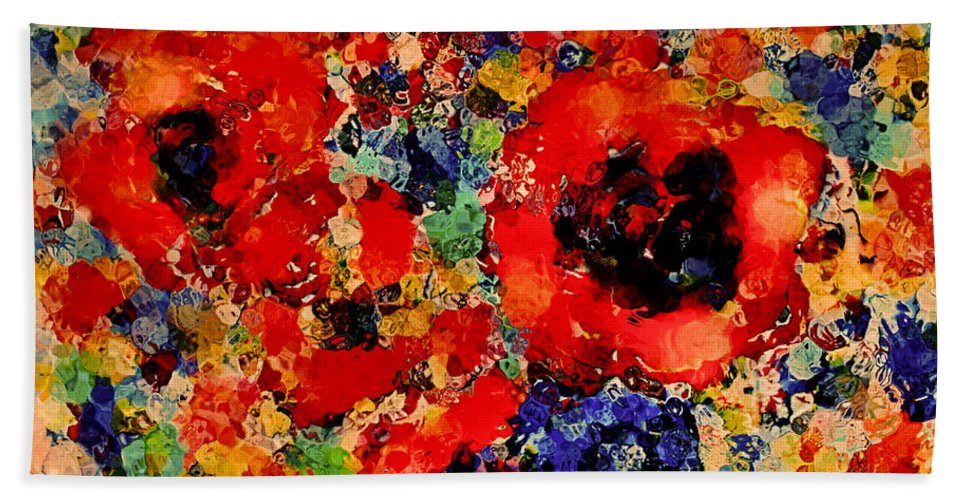 Red Flowers Beach Towel featuring the mixed media Floral Happiness by Natalie Holland