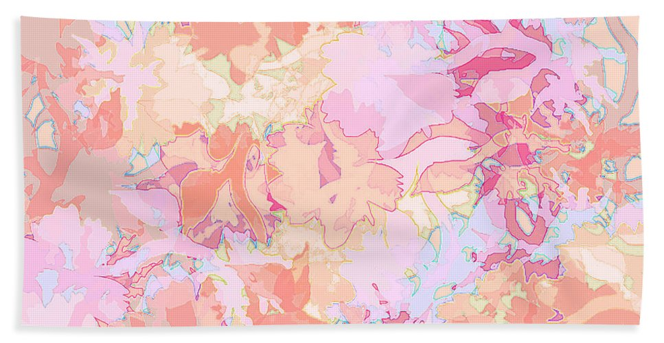Abstract Beach Towel featuring the digital art Floral Menagerie by Rachel Christine Nowicki