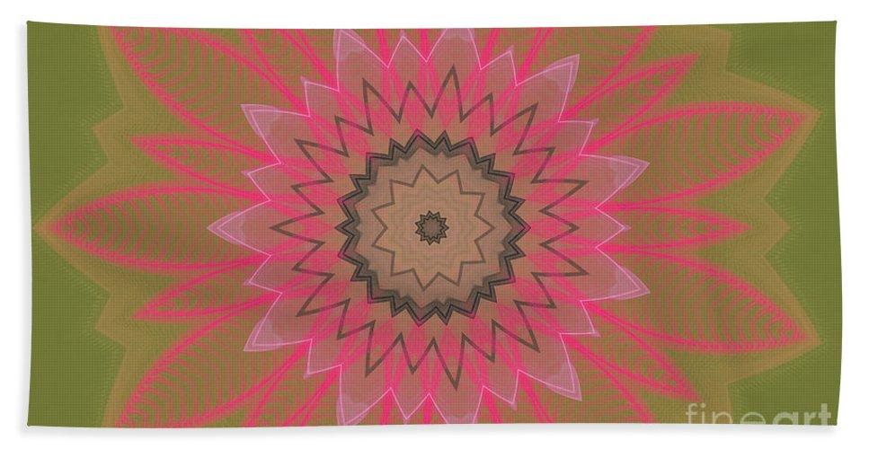 Floral Beach Towel featuring the digital art Floral Petals With Hearts by Deborah Benoit