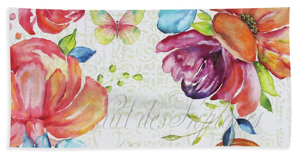 Floral Beach Towel featuring the painting Floral Symphonie by Jean Plout