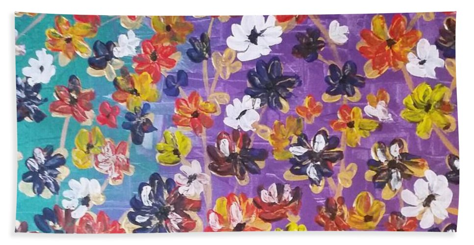 Abstract Flowers Beach Towel featuring the painting Floral Theme by Tayyaba Hafeez