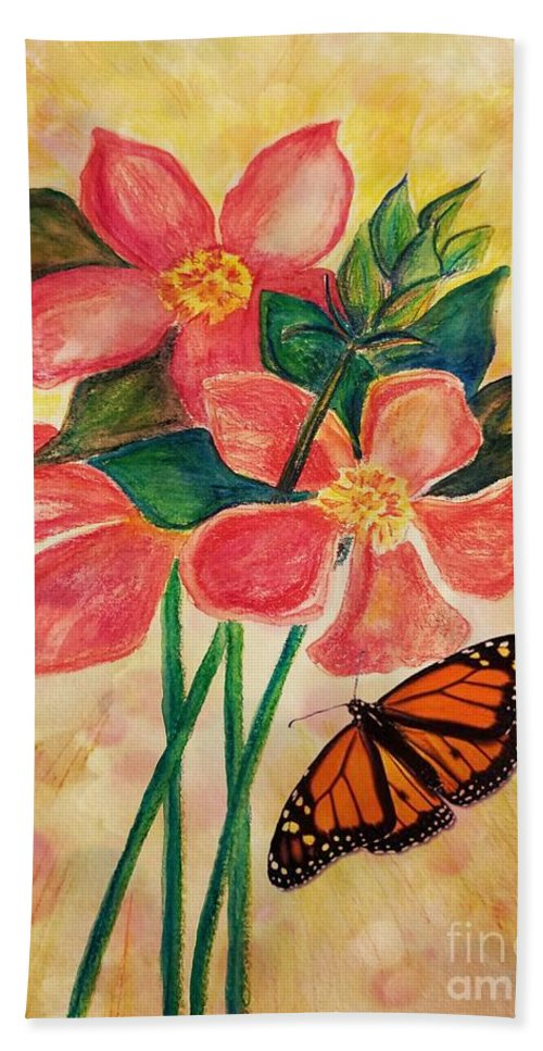 Floral With Butterfly Beach Towel featuring the photograph Floral With Butterfly by Maria Urso