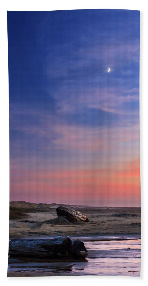 Florence Beach Towel featuring the photograph Florence Beach Twilight Moon by James Eddy