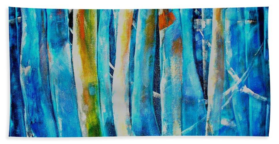 Blue Forest Beach Towel featuring the painting Floresta Azul by Fernanda Cruz