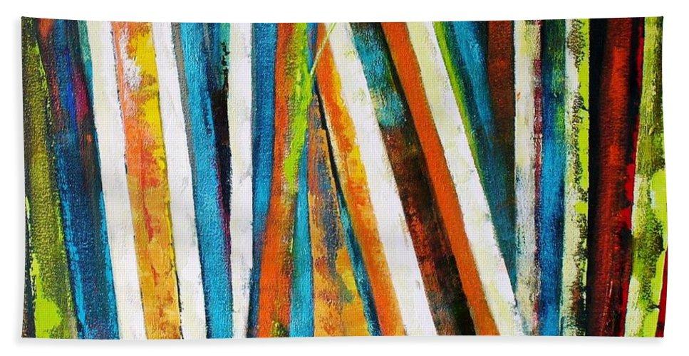 Abstract Tree Beach Towel featuring the painting Floresta Vii by Fernanda Cruz
