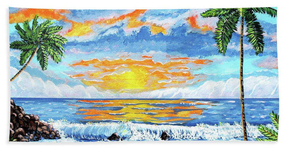 Key West Beach Towel featuring the painting Florida Keys Beach Sunset by John Moon