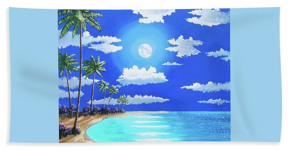 John Moon Beach Towel featuring the painting Florida Keys Moon Rise by John Moon