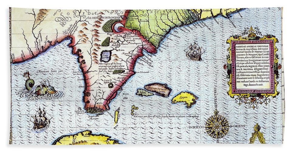 1591 Beach Towel featuring the photograph Florida: Map, 1591 by Granger