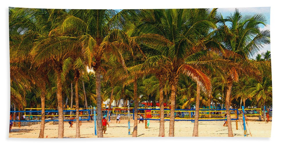 Art Beach Towel featuring the painting Florida Style Volleyball by David Lee Thompson