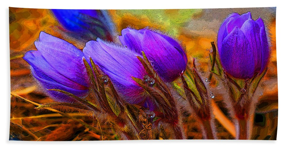 Flowers Beach Towel featuring the photograph Flourescent Flowers by Heather Coen