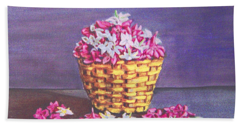 Flower Beach Towel featuring the painting Flower Basket by Usha Shantharam