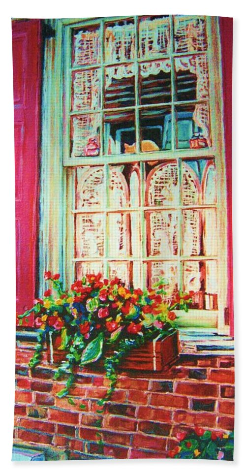 Flower Box Beach Towel featuring the painting Flower Box And Pink Shutters by Carole Spandau