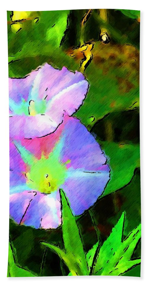 Digital Photograph Beach Towel featuring the photograph Flower Drawing by David Lane