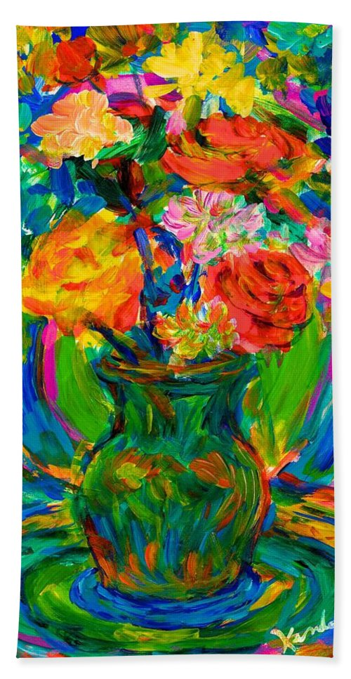 Floral Beach Towel featuring the painting Flower Energy by Kendall Kessler