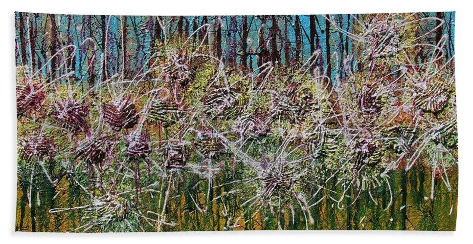 Flower Beach Towel featuring the painting Flower Energy by Mihai Banutoiu