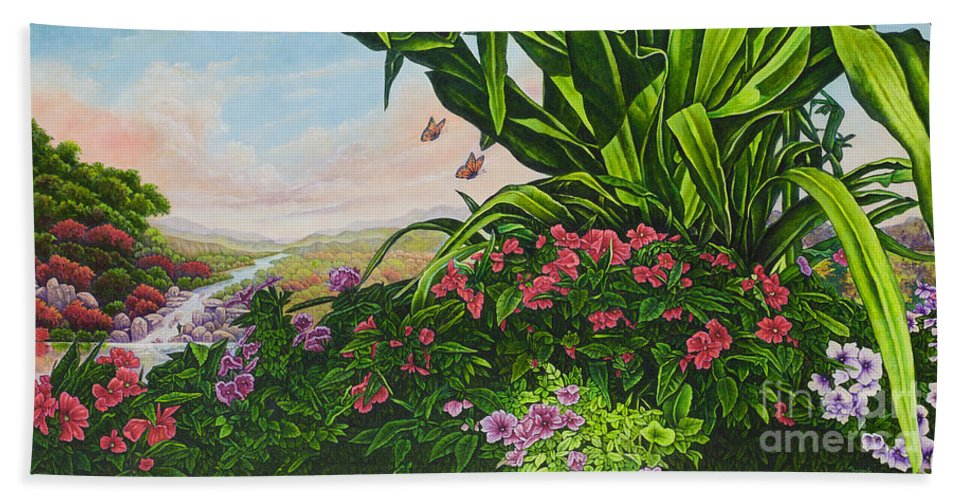 Flower Beach Towel featuring the painting Flower Garden Vii by Michael Frank