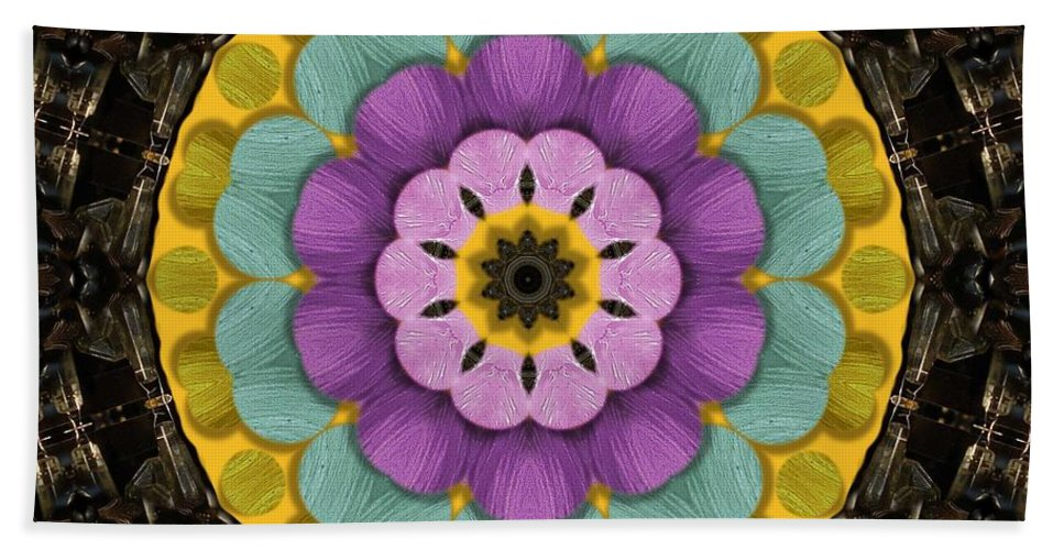 Flower Beach Towel featuring the mixed media Flower In Paradise by Pepita Selles
