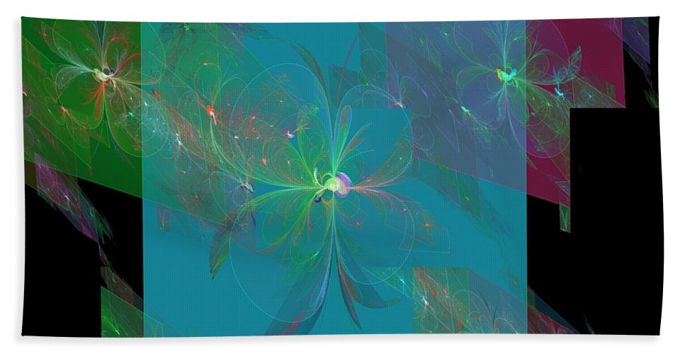Apophysis Beach Towel featuring the digital art Flower Mirrors by Kim Sy Ok