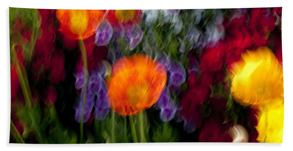 Flowers Beach Towel featuring the photograph Flower Motion by Kelley King