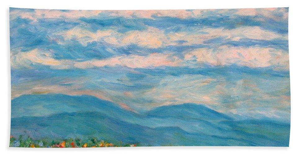 Blue Ridge Paintings Beach Towel featuring the painting Flower Path To The Blue Ridge by Kendall Kessler