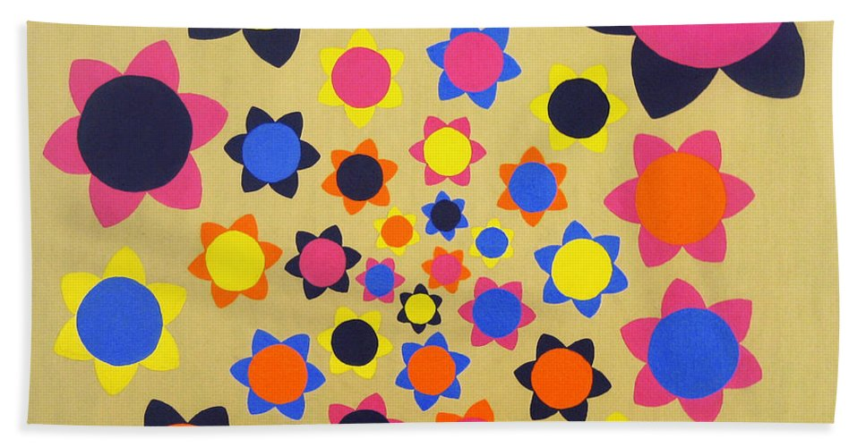 Flower Beach Towel featuring the painting Flower Shower by Oliver Johnston