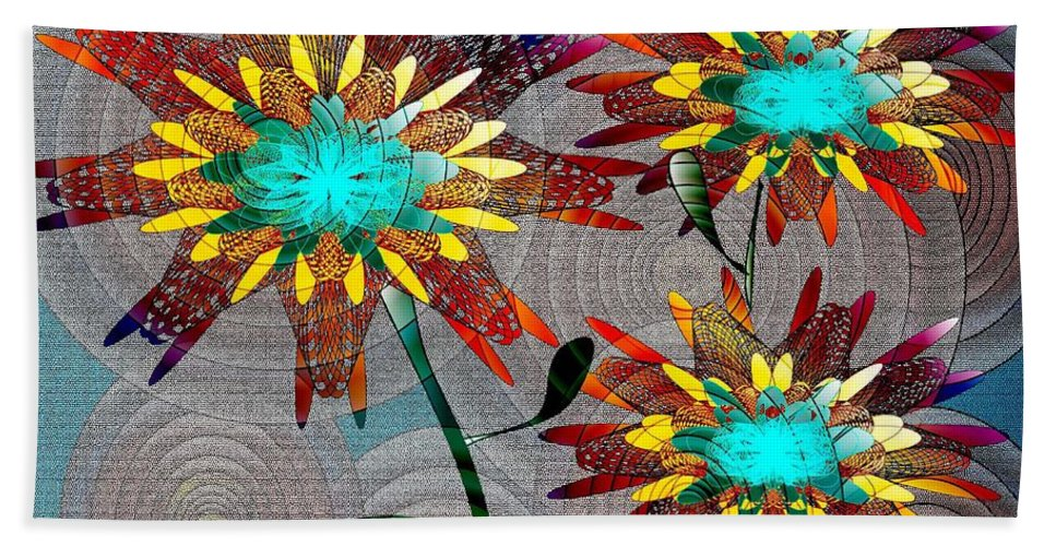 Flowers Beach Towel featuring the digital art Flowering Dreams by Iris Gelbart