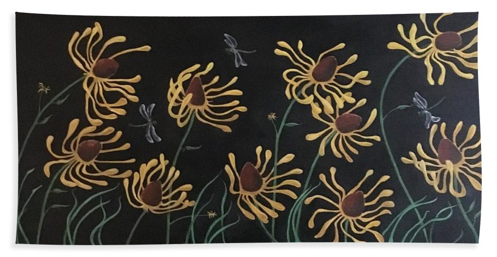 Flower Beach Towel featuring the painting Flowers And Dragons by Ron Tango Jr