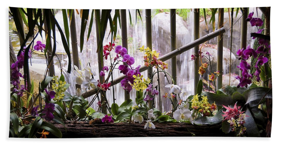 Flower Beach Towel featuring the photograph Flowers And Waterfall by Steven Sparks