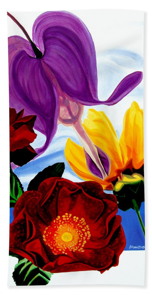 Floral Beach Towel featuring the painting Flowers by Che Hondo