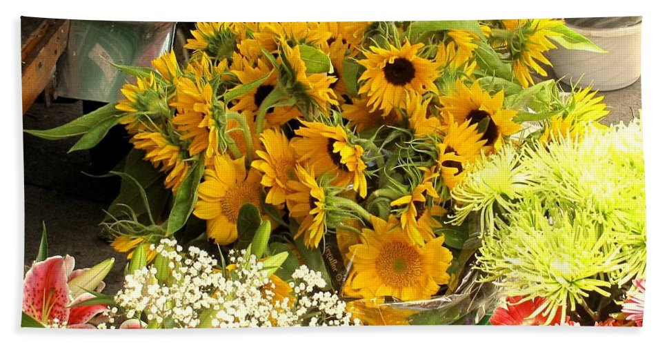 Flowers Beach Towel featuring the photograph Flowers For Sale by Ian MacDonald