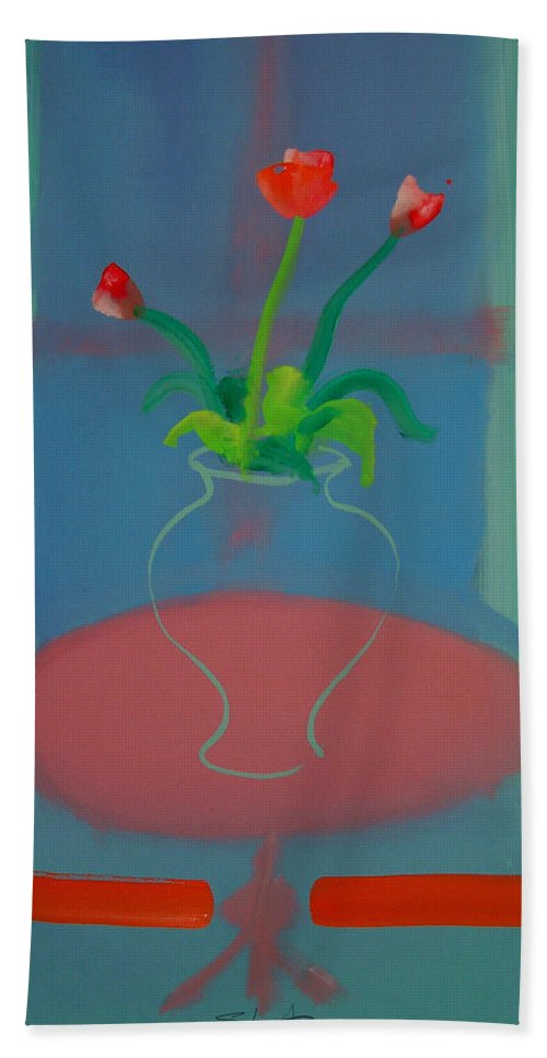 Dufy Beach Towel featuring the painting Flowers In A Bay Window by Charles Stuart