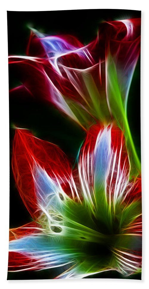 Flower Beach Towel featuring the photograph Flowers In Green And Red by Lisa Stanley