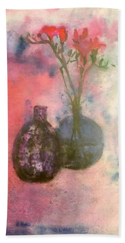 Beach Towel featuring the painting Flowers In Vase by Ralph Herrington Farabee