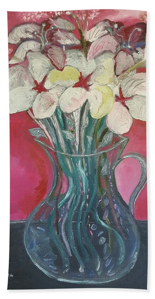 Beach Towel featuring the painting Flowers Inside Glass Pitcher by Nima Honarbakht