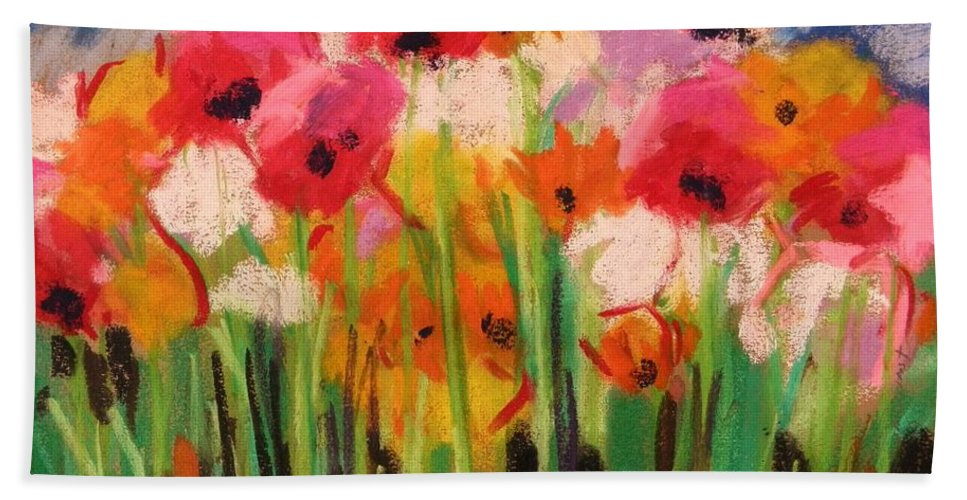 Flowers Beach Towel featuring the painting Flowers by John Williams