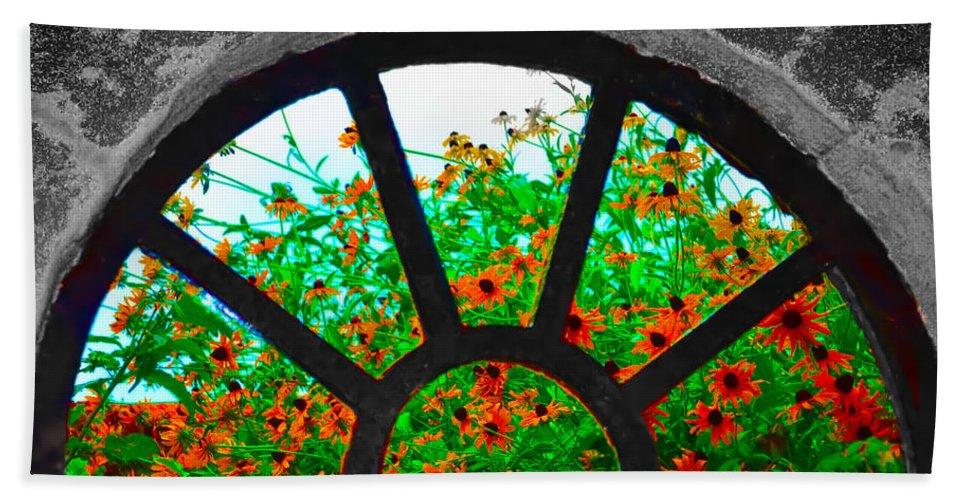 Monticello Beach Towel featuring the photograph Flowers Through Basement Window At Monticello by Bill Cannon