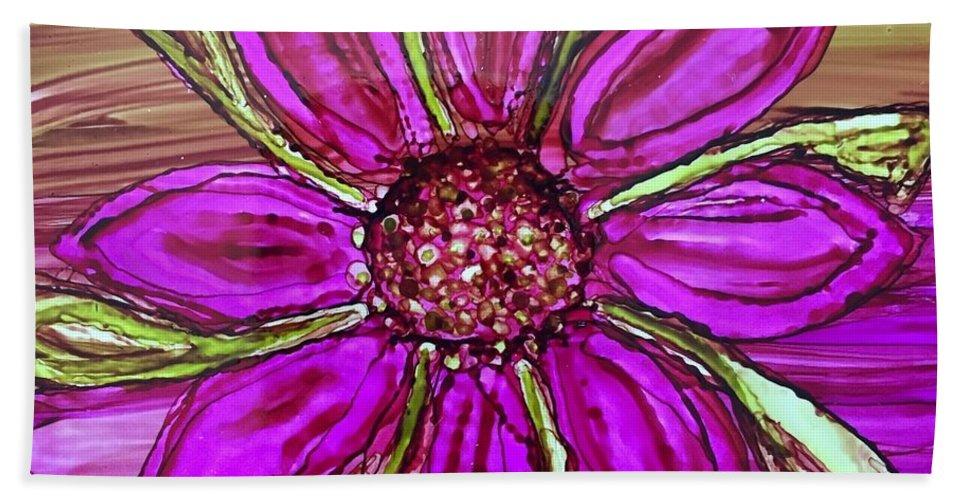 Dahlia Beach Towel featuring the painting Flowerscape Dahlia by Lisa Grogan