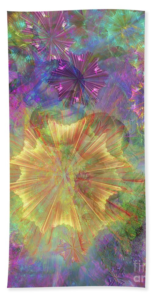 Flowerworks Beach Towel featuring the digital art Flowerworks by John Beck