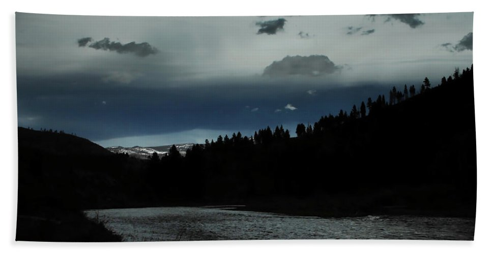 Evening Beach Towel featuring the photograph Flowing Into The Night by Donna Blackhall