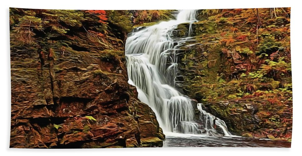 Flowing Waters Beach Towel featuring the painting Flowing Waters by Harry Warrick