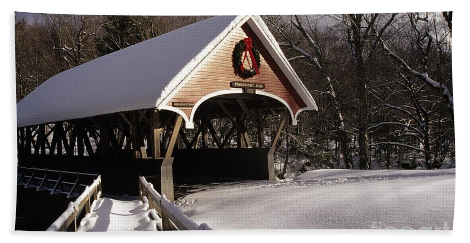 Franconia Notch State Park Beach Sheet featuring the photograph Flume Covered Bridge - Lincoln New Hampshire Usa by Erin Paul Donovan
