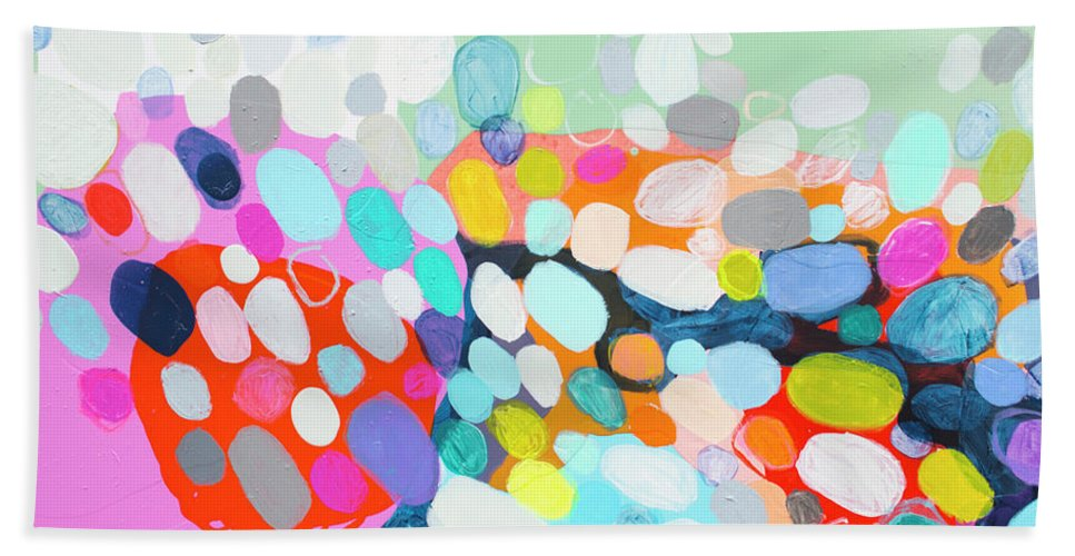 Abstract Beach Towel featuring the painting Flushed by Claire Desjardins