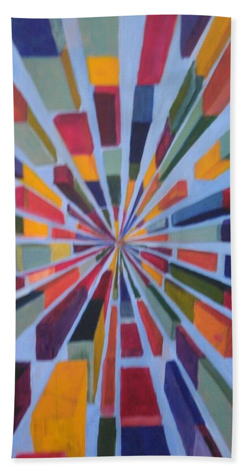 Non Representational Art Beach Towel featuring the painting Flying box by Andrew Johnson