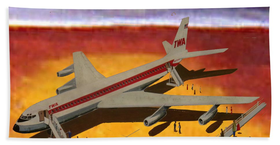 707 Loading On A Strange Planet Beach Towel featuring the painting Flying From A Strange Place by Frank Hunter