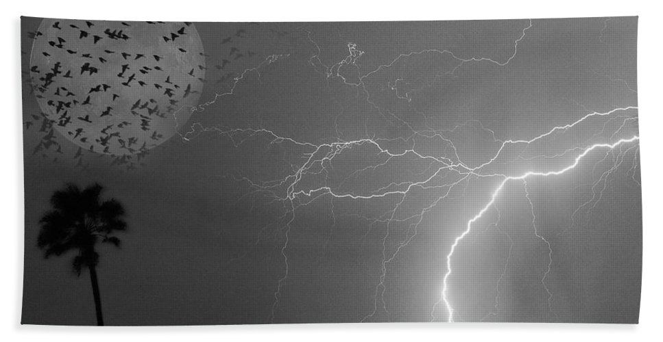 Black And White Beach Towel featuring the photograph Flying From The Storm Bw by James BO Insogna