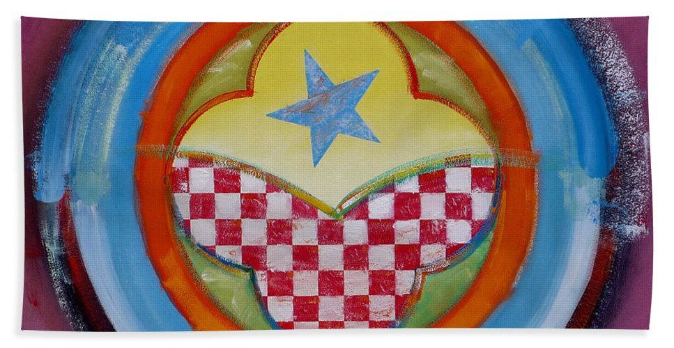 Logo Beach Towel featuring the painting Flying Star by Charles Stuart