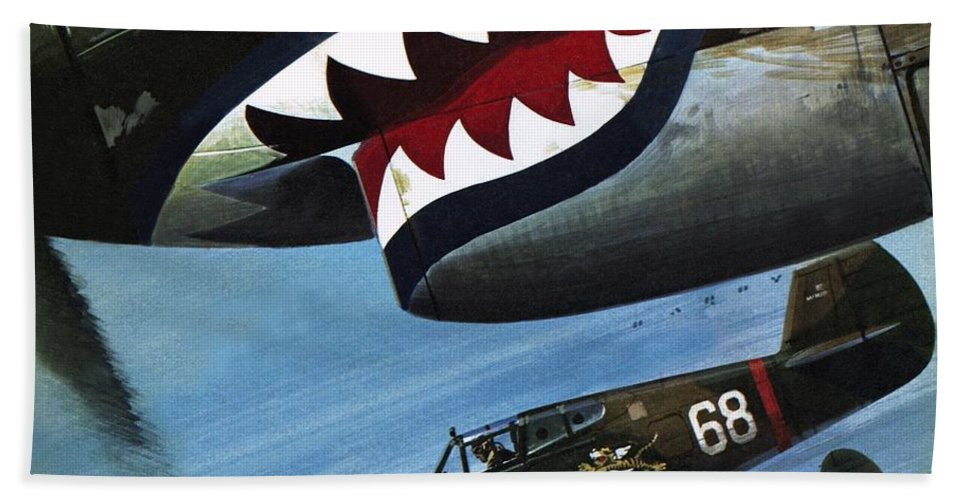 Major Claire Chennault;pilot;curtiss P40;aircraft;aeroplane;world War Ii;second World War;japan;flying Tigers;asia Beach Towel featuring the painting Flying Tigers Over Asia by Wilf Hardy