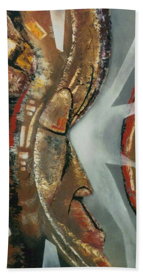 African Mask Beach Towel featuring the painting Focus And Determination by Hasaan Kirkland