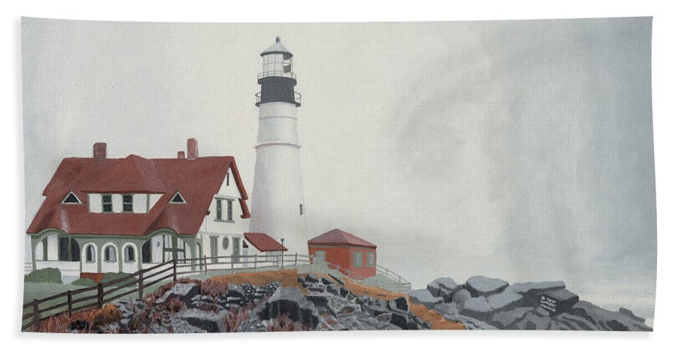 Lighthouse Beach Sheet featuring the painting Fog Approaching Portland Head Light by Dominic White